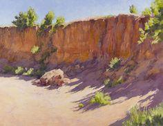 """Lee McVey – """"Arroyo Wall with Shadow"""" Western Landscape, Landscape Art, Landscape Paintings, Watercolor Paintings, Pastel Paintings, Oil Paintings, Soft Pastel Art, Pastel Paper, Poster Color Painting"""