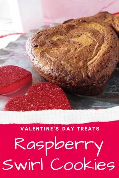Valentine's Raspberry Swirl Cookies. Strawberry Brownies, Raspberry Cookies, Raspberry Cheesecake, Homemade Valentines, Valentines Day Treats, Sweet Desserts, Dessert Recipes, Peanut Butter Blossoms, Winter Dishes