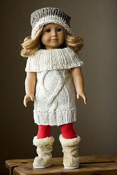Ravelry: American Girl Doll Sweaterdress and Cardigan Bundle pattern by Melissa Schaschwary