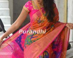 Printed Linen Saree Floral Prints Sari with Running Blouse Kuppadam Pattu Sarees, Handloom Saree, Soft Silk Sarees, Cotton Saree, Saree Floral, Organza Saree, Printed Linen, Half Saree, Party Wear Sarees