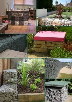 Furniture made from gabions. #garden