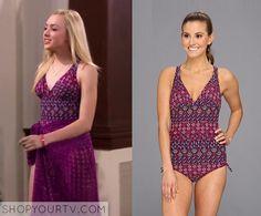 Jessie: Season 3 Episode 26 Emma's Purple Printed Swimsuit