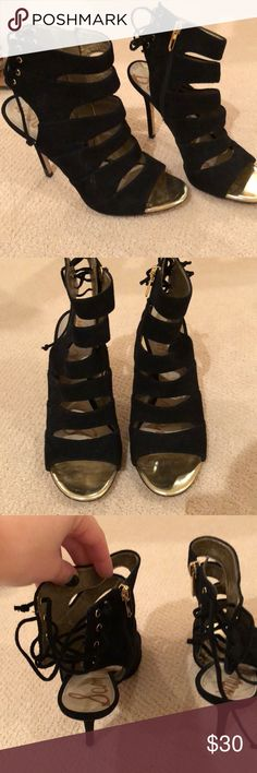 Sam Edelman black stilettos worn twice no problems other than slight wear than can be seen in pics Sam Edelman Shoes Heels