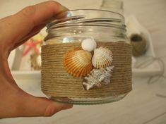 Glass Bottle Crafts, Wine Bottle Art, Diy Bottle, Seashell Projects, Seashell Crafts, Beach Crafts, Jute Crafts, Upcycled Crafts, Diy Home Crafts