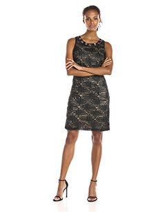 Jessica Howard Women's Soutache Scroll Sheath Dress, Black, 16 - http://best-women-shop.xyz/2016/06/04/jessica-howard-womens-soutache-scroll-sheath-dress-black-16/