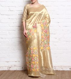 Beige Handcrafted #Varanasi #Silk #Saree With Zari Work by #Tannishtha at #Indianroots