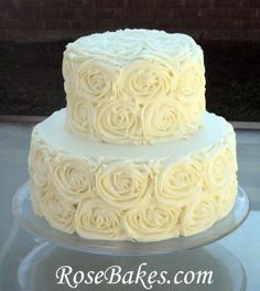 Anniversary Cake Buttercream Roses put edible pearls in the center