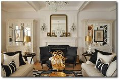 Black and White Decorating, Hollywood Regency, Dramatic Interiors, Gold Interiors, White Decorating, Expensive Antiques, White Painted Furniture, Upholstery Ideas