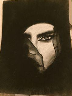 Arabic woman charcoal drawing