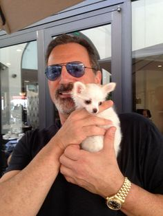 Still adorable Frank Stallone with friend, Bunny. Love his blue aviator shades. Frank Stallone, Sylvester Stallone, Blue Aviators, Love Him, Husky, Pilot, Aviation, Handsome, Dogs