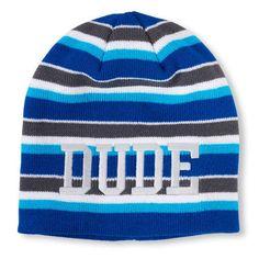 s Boys Glow-In-The-Dark Striped Embroidered  Dude  Beanie - 7861b60e4c3e