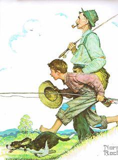 Norman Rockwell  print Going Fishing Summer from original for 4 seasons calendar 1948 vintage art. $14.00, via Etsy.