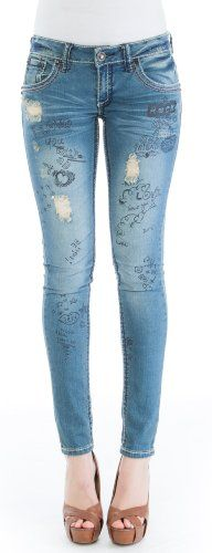 (LY1543-Cupcake-9) Dollhouse Distressed Graffiti Skinny Jean in Cupcake Size: 9 - The Graffiti Skinny is fitted skinny jean with whiskering, distressing and rip and repair. Bold color contrasting stitching on seams. The Rocker is a skinny low rise je
