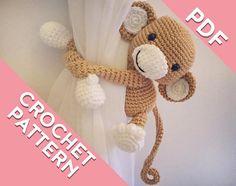 Items similar to Monkey Curtain Tie Back, Crochet Monkey, Monkey Amigurumi, Tiebacks on Etsy Crochet Round, Diy Crochet, Double Crochet, Crochet Hooks, Tutorial Amigurumi, Amigurumi Patterns, Crochet Patterns, Crochet Monkey Pattern, Magic Ring Crochet