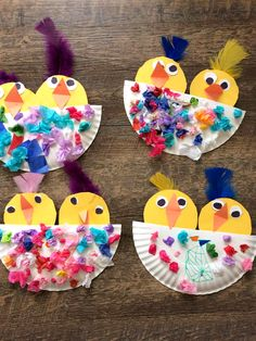 These adorable chicks were made by Becky Taszarek's daycare kids! These would be so fun to make for Spring or an Easter craft! Supplies Needed: Paper plate Tissue paper Feathers Yellow, orange, and white paper Glue/Scissors Cut a paper plate in half then have the kids cut out two yellow paper chicks. Cut small pieces …