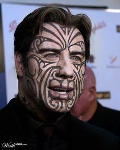 Travolta Maori Warrior by Supagray Tribal Face Tattoo, Face Tattoos, Tribal Tattoos, Cool Tattoos, Maori Tattoos, All Blacks Rugby Team, Tribal Makeup, Maori Tattoo Designs, Different Tattoos
