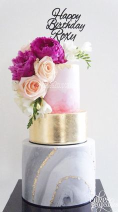 Two Layer Wedding Cake With Gold Bling