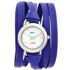 Women's La Mer Collections 'Saturn' Leather Wrap Watch, 32Mm (110 CAD) ❤ liked on Polyvore featuring jewelry, watches, bracelets, accessories, часы, cobalt blue, cobalt blue jewelry, leather wrist watch, stackers jewelry and knot jewelry