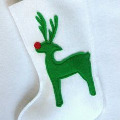 Rudolf the Reindeer Christmas Stocking  Eco by stitcholicious, $12.00
