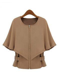 Abrigo capa cremallera mangas medias-Camello EUR€26.49