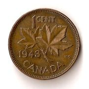 "A single Error 1943 ""Supported Four"" Cent from the 1937-1952 George VI Canadian coin series"