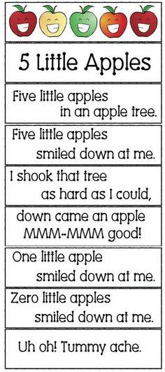 5 little apples in an apple tree song apple activities apple songs apple crafts apple games apple emergent readers Preschool Apple Theme, Preschool Music, Fall Preschool, Preschool Lessons, Preschool Classroom, Apple Activities Kindergarten, Preschool Apples, Montessori Elementary, September Preschool Themes