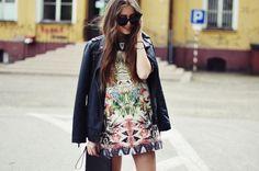 Jestem Kasia - Zara dress, Stradivarius jacket, Kazar heels, Furla clutch, and Celine sunglasses.
