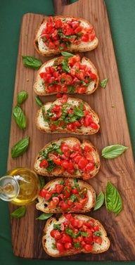 Bruschetta. Little pieces of toast, pretty display.