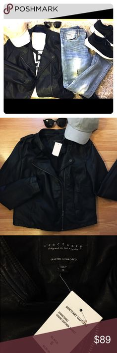 NWT Black Leather Moto Jacket Vegan black leather Moto Jacket by Sanctuary Clothing. Brand New with tags. Bought a real leather one so no need to keep this one around. Sanctuary Jackets & Coats