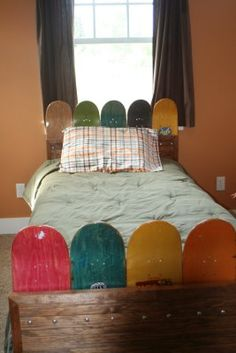 Skateboard Headboard some uniqueness of skateboard bedroom decor for kids: exciting