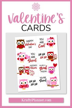 Owl Valentine's Day Cards Valentine Day Crafts, Holiday Crafts, Lunch Box Notes, Diy For Teens, Teen Diy, Printable Cards, Printables, Cute Owl, Great Friends