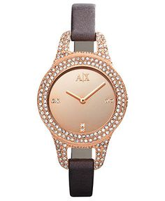 A X Armani Exchange Watch, Women's Brown Leather