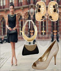 Black Dress Gold Shoes Wedding Ficts