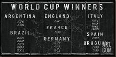 World Cup Winners Stretched Canvas Print by The Vintage Collection at Art.com