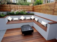 like the contrast in colours like the fencing the corner seating area as a concept think you could do a better fire pit thoughThe modern wooden garden bench fits any garden situationAn eco-friendly roofing is typically a roof that is actually describ Backyard Seating, Backyard Patio, Backyard Landscaping, Backyard Privacy, Landscaping Ideas, Modern Backyard, Garden Modern, Deck Seating, Diy Patio