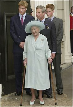 Three generations from the House of Windsor...HM Queen Elizabeth, Queen Mother with her grandson, Prince Charles, and two great-grandsons, Prince William and Prince Harry.