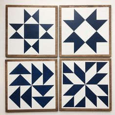 """FLASH SALE:  {4 extra} 11"""" Barn Quilts - sold as a set - Navy with stained edge. $140 + FR shipping.   Comment """"me"""" (then send me a DM with your PayPal address). Pay within 24 hours to get it.  Arrives by Mother's Day!"""