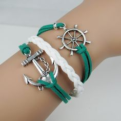 Anchor, Helm Bracelet, Charm Cord Bangle