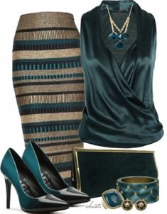 Striped emerald green and gold work pencil skirt!