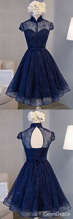 Navy blue special high neck party prom dress #homecomingdresses