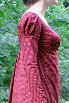 Day Gown with Undersleeves Closeup | Sense & Sensibility Patterns
