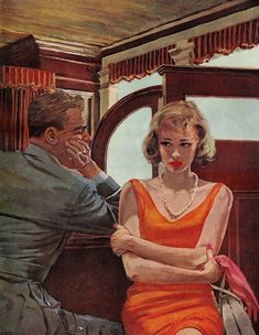 """""""I'll make it better, I promise"""" - Illustration by Austin Briggs.my father did an illustration that looked very similar, which I posed for.at first I thought this was it! Romance Arte, Vintage Romance, Vintage Art, Pulp Fiction Art, Pulp Art, Serpieri, Vintage Couples, Arte Pop, Couple Art"""