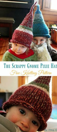 The Scrappy Gnome Pixie Hat Knitting Free Pattern - Kids Free Patterns Kids Pixie Hat Free Knitting Patterns: collection of knitted pixie hat for baby and kids, collared pixie, pixie beanie, gnome pixie, Christmas tree pixie. Knitting Blogs, Knitting For Kids, Free Knitting, Knitting Projects, Baby Hat Knitting Patterns Free, Knitting Hats, Christmas Knitting Patterns, Capelet Knitting Pattern, Knit Beanie Pattern