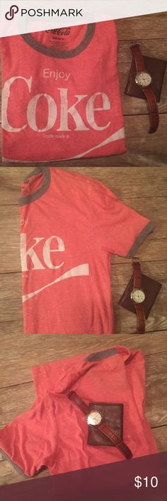 """Men's Tee Men's/Unisex Short-Sleeve Tee, Light Heather Red with White Distressed """"Enjoy Coke""""'on Front & Solid back. Gray banding at crew neck at slew hems. Size Small (34/36). 50% Polyester, 38% Cotton & 12% Rayon. In EUC. Coca-Cola Shirts Tees - Short Sleeve"""