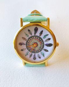 Mandala Feather Wrist Watch - bohemian watch, aqua watch, unique watches, womens watches, mandala watch, gold watch, boho watch by FeathersandStars on Etsy