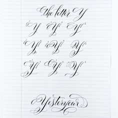 This is such a fun letter to work on. Variations on the entry stroke AND variations on the descender! A lot of these are based on the beautiful Y found in Spencerian script, so yes - studying the lettering of yesteryear is very important! Calligraphy Fonts Alphabet, Flourish Calligraphy, Calligraphy Worksheet, Calligraphy Tutorial, Copperplate Calligraphy, Tattoo Lettering Fonts, Hand Lettering Alphabet, Learn Calligraphy, Lettering Tutorial