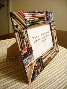 Upcycled Green Earth Friendly Memory 4x6 Magazine Paper Picture Frame - A. $20.00, via Etsy.