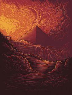 Great Pyramid of Giza [The Seven Ancient Wonders] by Dan Mumford Fantasy Landscape, Fantasy Art, Dibujos Dark, Dan Mumford, Pyramids Of Giza, Giza Egypt, The Ancient Magus Bride, Street Art, Skull Art