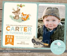 Woodland Birthday Party Invitation /  Boy by littlebirdieprints
