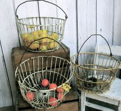 Vintage Metal Egg Baskets Set of three Industrial by MaisJamais, $99.95